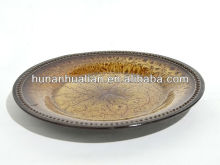 Hunan Hualian Tiger Eye Dinner Plate with beaded edges