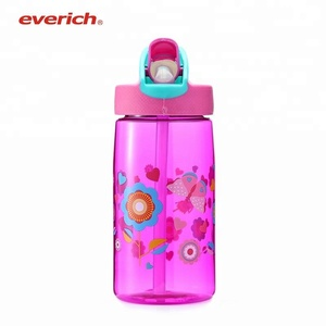 Factory Plastic PC Custom Logo Water Bottle with Straw Lid