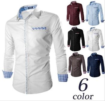 2018 Sell in Aliexpress or Ebay long sleeve contrast color collar mens casual shirts for American big size