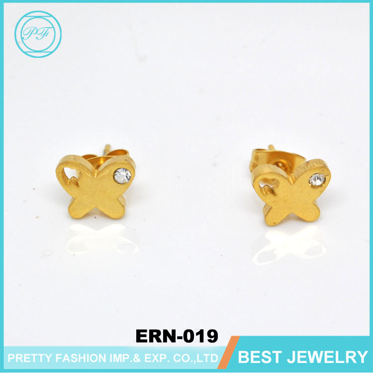 Women Stick Charming Butterfly Fashion Gold Earring Latest Designs Of Ladies Earrings Jewelry Gold Earring