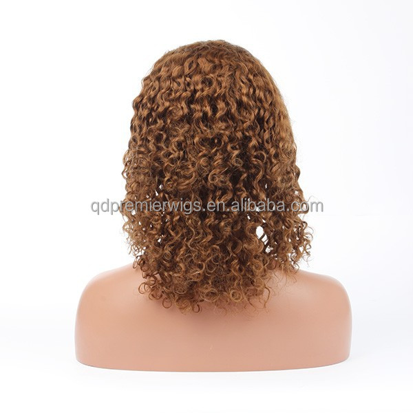 tight curly blond brazilian human hair wig, supply human lace wig
