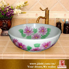 Handmade 3d relief painting decoration flower ceramic sink