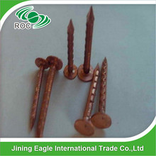 Flat head large cap copper clout nail for wooden roof construction