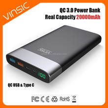 2017 wholesale 20000mAh quick charge 3.0 power bank Portable External USB Type-C charger power bank