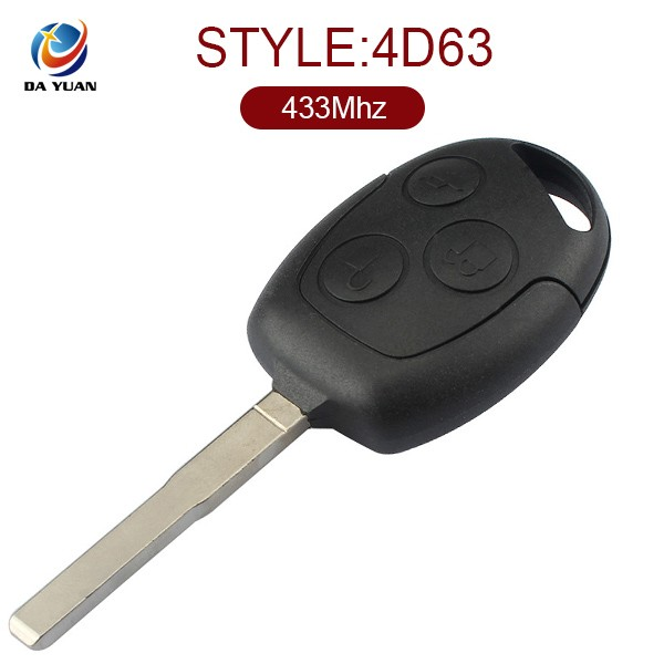 Good feedback car remote key for Ford Focus remote control 433 Mhz 3 button HU101 blade with 4D63 chip (AK018011)