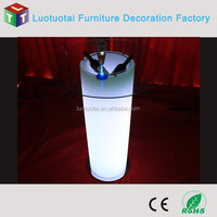 Glass top nightclub LED high bar table with ice bucket