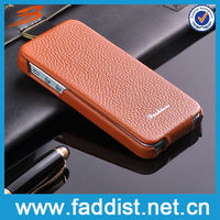 2013 Classical brown lychee pattern leather case for apple iphone5s 5