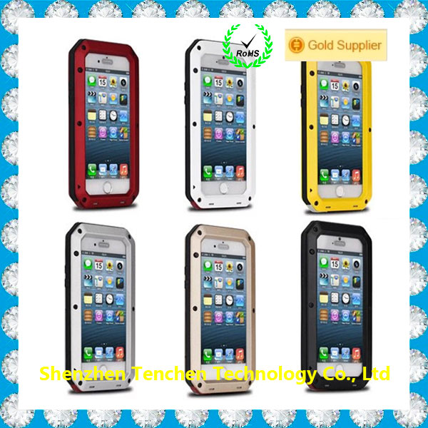 Aluminum Gorilla Glass Metal Waterproof Shockproof Cover Case for IPhone 5 5s SE 6 6s 6s plus