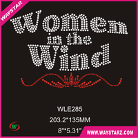 Wholesale New Women In The Wind Letter Rhinestone Transfer For T-Shirt Free Shipping