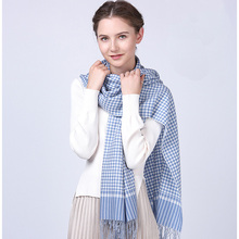 Inner mongolia factory pashmina shawl winter warm thick houndstooth scarf with tassels