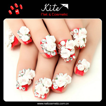 Wedding bridal rhinestone flower nail art tips false nails tips