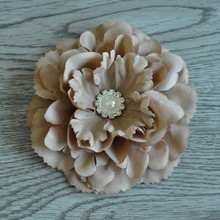 4.5Inch DIY Accessories Large Satin Flowers With Shiny Gem Center Flat Back