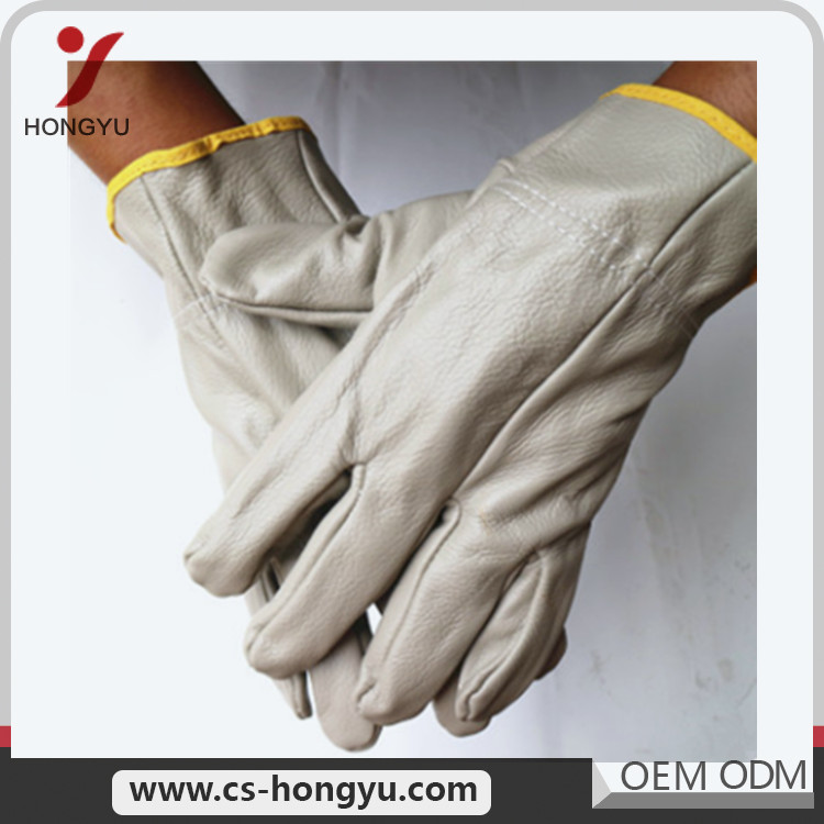 Low moq elbow colored length leather work welding gloves