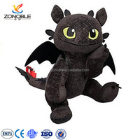 OEM design black dragon plush how to train your dragon plush toys