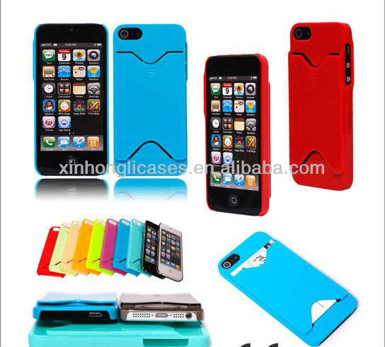 For iPhone 5 ID/Credit Card Slot Holder Wallet Back Case Cover