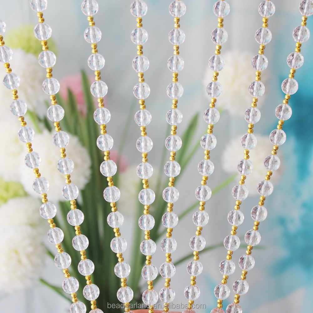 Attractive Crystal Clear Round Acrylic Beaded String Curtains For Window Home Decoration