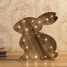 Best Selling Products Metal and Wood Home Decoration Rabbit Shaped Marquee Led Light