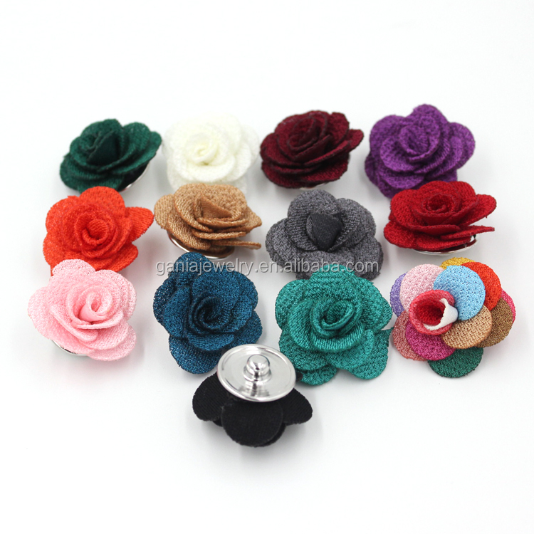 Wholesale Snap Jewelry Findings Fabric Flower Rose Buttons for Snap Jewelry Necklace Bracelet Earrings Ring Charm
