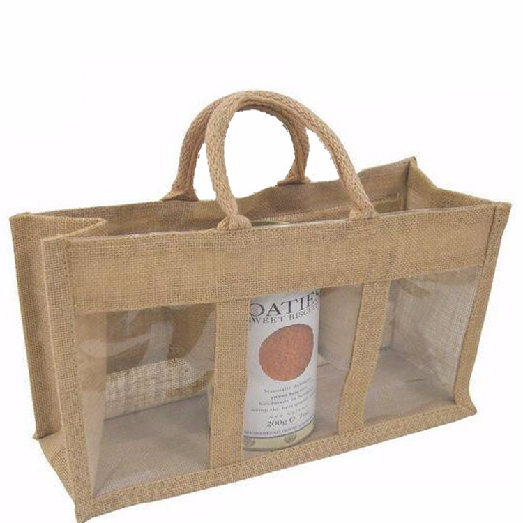 clear PVC window wine package handled jute tote bag