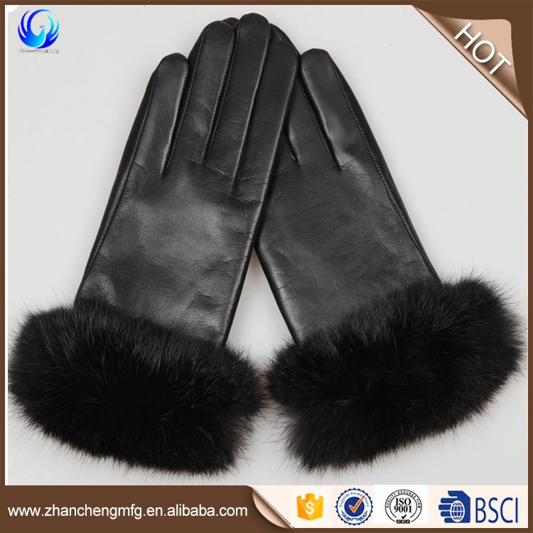 New design genuine sheepskin lady gloves with rabbit fur cuffs for wholesales
