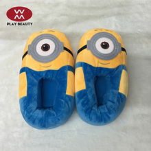 2017 Newest Customized Design Funny Plush Slippers Cartoon Minions Stuart Soft Warm Indoor Winter Slippers For Kids/Woman/Man