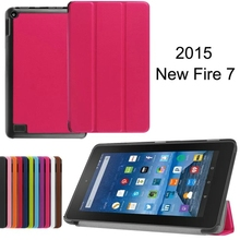 Tri-Fold Ultra Thin Slim Magnetic Luxury Folio Stand Leather Case Smart Cover For Amazon Kindle New Fire HD 7 2015
