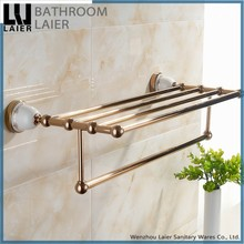 Beauty Products Display Towel Shelf Zinc Alloy Rose Gold Plating Sanitary Ware Products Factory Production Towel Rack