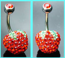 Apple Belly Bar shaped body piercing jewelry rings with crystal red unique design