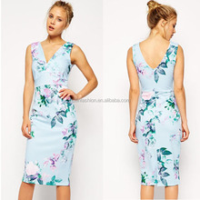 2014 blue floral pencil printed bodycon dress nepal clothing wholesale