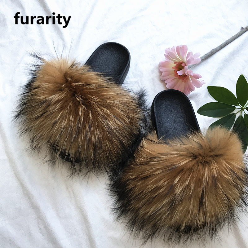 SF0348 Factory wholesale pvc slides ladies raccoon fur <strong>slippers</strong> women soft real raccoon fur slides