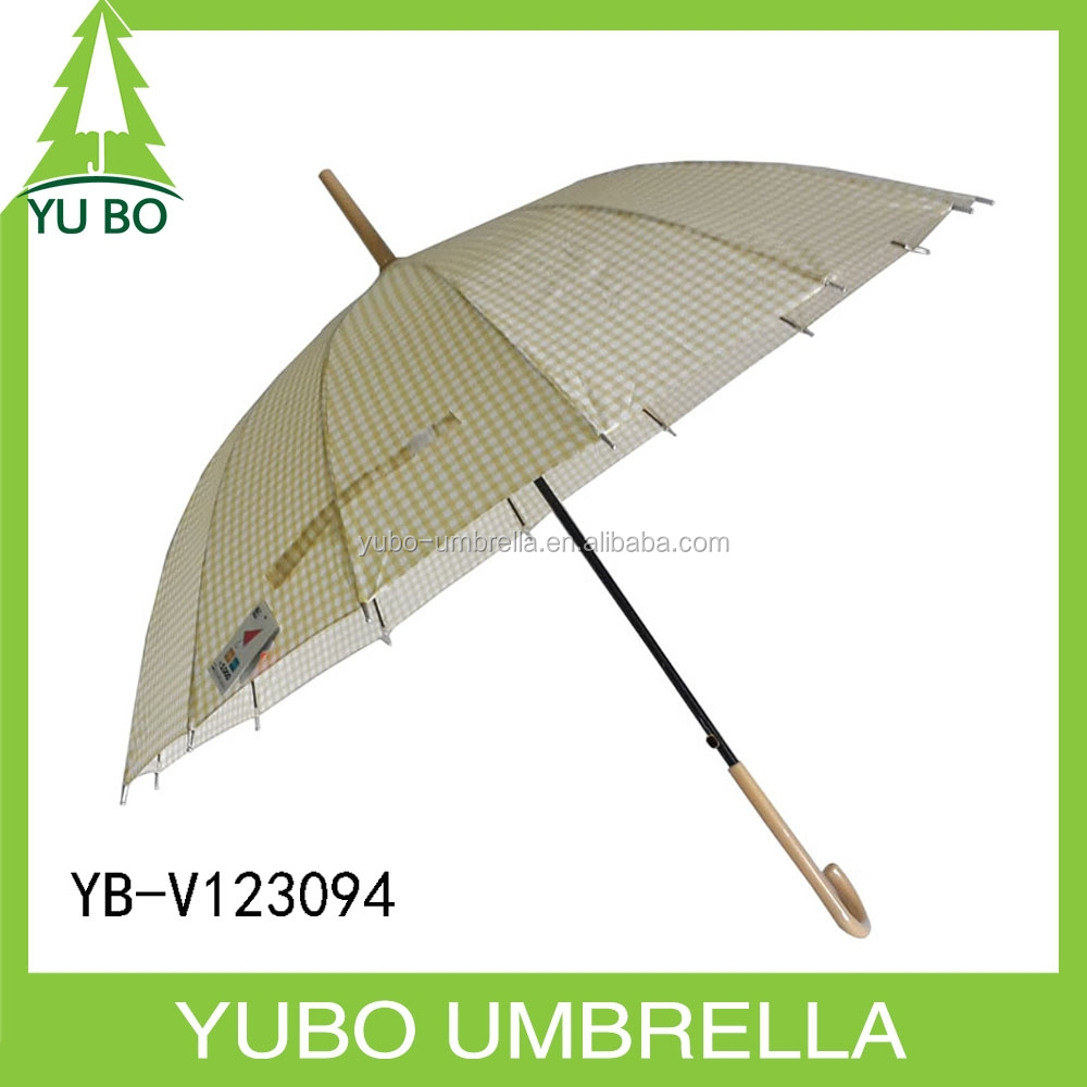 Korea market light yellow small lattice printing 14K windproof straight auto open umbrella