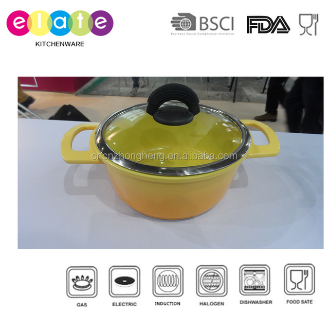 Gradual changing yellow colored medium ceramic casserole set Y-TG524