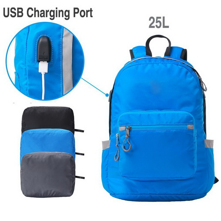 Foldable travel smart backpack usb, lightweight school backpack laptop bag