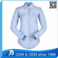 Custom Winter Denim Jeans Shirts, Women Blouses