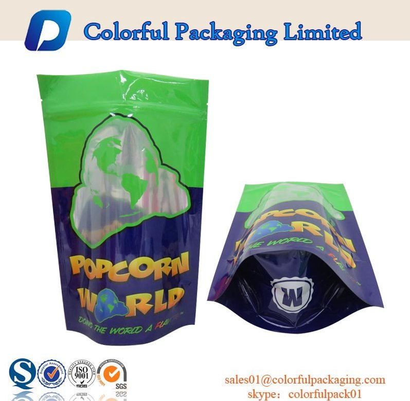 custom logo resealable ziplock stand up pouch window for popcorn packaging