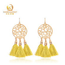 Wholesale yellow fashion tassel earrings women