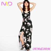 Latest women sexy floral maxi dress long