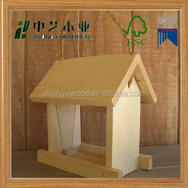 Factory price cheap unfinished wood stand handmade wooden bird feeder