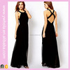 Free Shipping Cheap Elegant The Cross Backless Black Long Chiffon Designer One Piece Sexy Maxi Dress Prom Evening Party Dresses