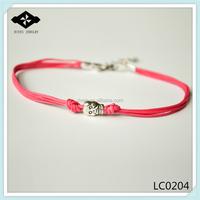 Dainty Pink Cord Bracelet Silver Skull Charm Bracelet Best Gift For Her Minimalist Beach Jewelry