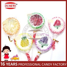 OEM Printing Sliced Assorted Fruits Flat Handmade Lollipop Hard Candy