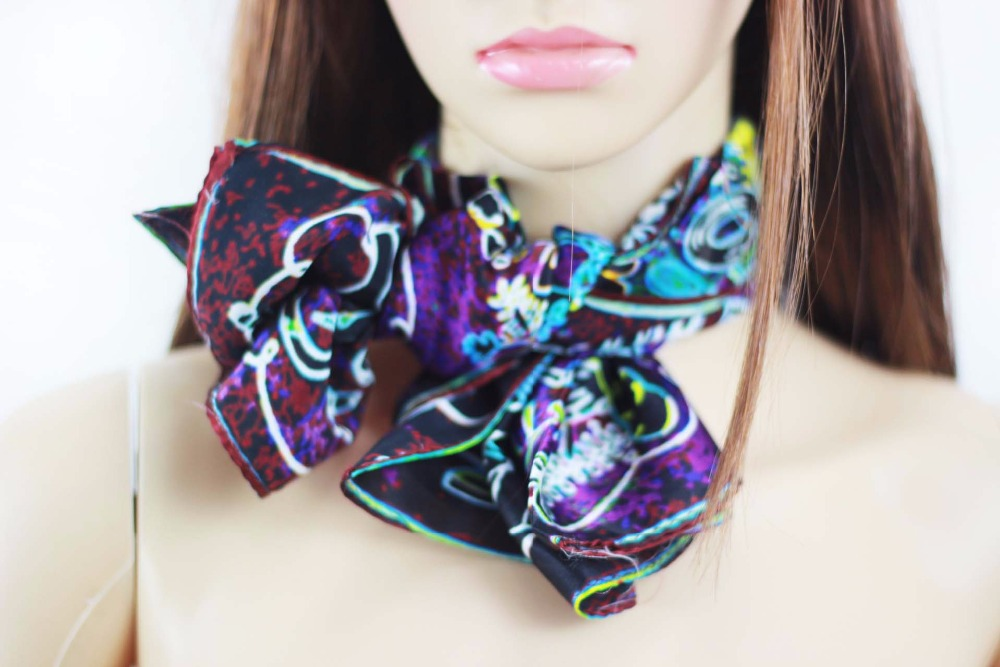 65*65 Artistic Silk Scarf Digital Print with 100% Silk Women Scarf Shawl
