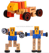 Hot selling Wood Deformation Robot / Manual Folding Building Blocks Car Children's Educational Toys