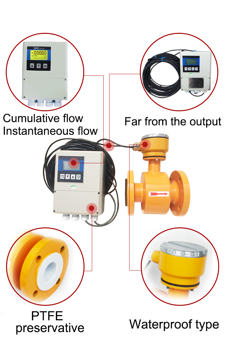 pulse output solid-liquid mix slurry electroamagnetic flow meter