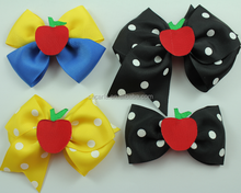 School hair bows black and yellow hair bows with apple on top go back to school stacked bowtique bows set Apple hair bowties