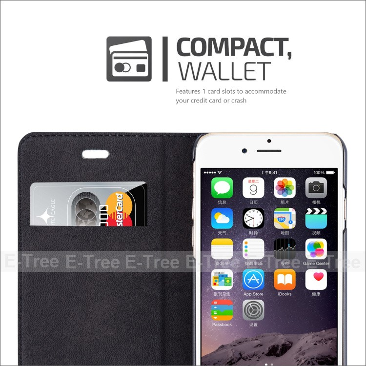 Magnet PU Leather covers universal phone case for apple iphone 6, pu leather cell phone wallet case for iphone 6
