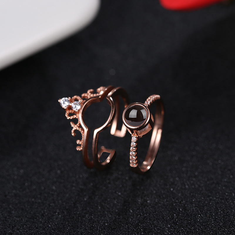 Hainon Sterling silver crown rings jewelry I love you in 100 languages adjustable rose gold ring support customize wholesale