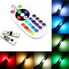 best price multiple color 5050 rgb smd led strip t10 rgb led car light bulbs remote controlled car interior lights