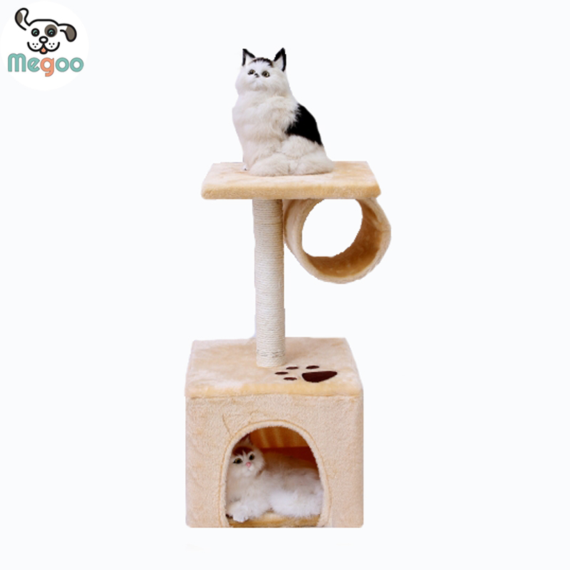 Soft Plush Cat Tree Three Colors Cat Scratching House With Hanging Drum