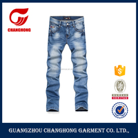 2016 European style bespoke garment wash denim jeans pent new style